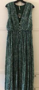 NWOT  Free People  FP Maxi Dress  V Neck Flowy  Dress Green, Size 4