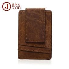 Men Crazy Horse Leather Tactical Magnet Front Pocket Cash Wallet Card Money Clip