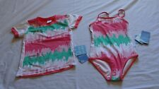 Girls size 3 One piece BATHERS & Short sleeve Rash vest UPF50+  Zig Zag NEW