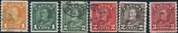 Canada #178-183 used F/VF 1930-1931 King George V Arch/Leaf Coil Set CV$28.75