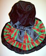 Small Dog Black Velvet Tartan Christmas Plaid Dress Clothes Winter Apparel