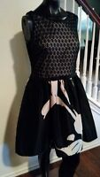 GORGEOUS Taylor Party Cocktail Dress Black and White w/ Illusion Top size 8 NWT