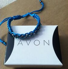 AVON RODEO WRAPS BRACELET BLUE ADJUSTABLE RHINESTONE