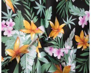 Tropical Floral Cotton Poplin (Black) – per half metre