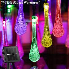 RGB 7M 50LED Multlicolor Solar String Fairy Crystal Teardrop Lights Waterproof