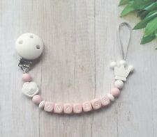 Completo Clip maniquí silicona. Personalizado Bebé Niña Regalo 👶 Rosa/Blanco/Rosa/corona