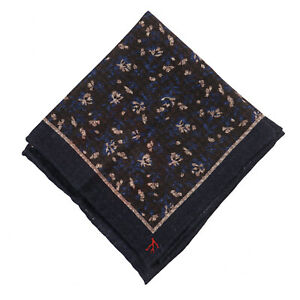 Isaia Dark Blue and Brown Floral Print Wool-Silk Pocket Square NWT