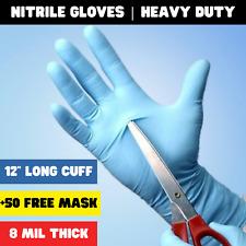 12 Long Cuff Texture Grip Hd 8mil Free Nitrile Disposable Gloves 50 Box Blue