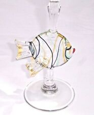 Murano Art Fish Martini Wine Glass Hand Blown Stemware Gold Aventurine Italy