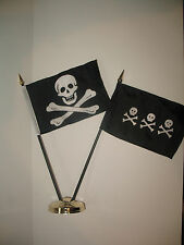 """Jolly Roger No Patch Skull w/ Chris Condent Pirate Flag 4""""x6"""" Desk Set Gold Base"""