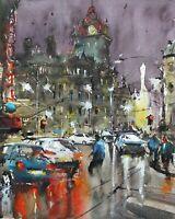 City Scene Painting Watercolor Original Edinburgh Street Cityscape 14x10 in