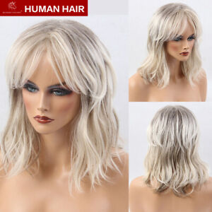 Long Layered Highlights Wigs Human Hair Shoulder Length Beige White Women Wigs