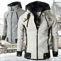 Men's Hoodies Hooded Coat Winter Warm Sweatshirt Stylish Zip Up Jacket Outerwear