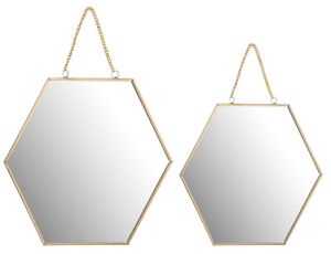 25cm or 30cm Gold Metal Framed Hexagonal Honeycomb Wall Hanging Glass Mirror