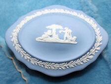 Wedgwood Blue Jasperware Jewelry Box Decorated With Classic Greek Motif