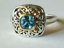 Blue Topaz framed in 18K Yellow Gold /Silver Ring  size 7