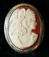 Gilt metal & carved shell cameo vintage Victorian antique Nyx brooch