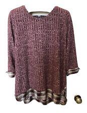 CJ Banks Women's Plus Size 1X Top Shirt Tunic Pull Over Burgundy Knit