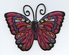 Iron On Patch Embroidered Applique - Dark Fuchsia Butterfly Jewel Tones LARGE
