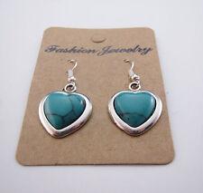 New Cute 18KGP Tibetan Silver Wrapped Turquoise Heart Charm Dangle Drop Earrings