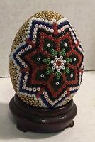 """Vintage Hand Beaded Gold Star Flower Egg 2.5""""Tall EGG ONLY"""