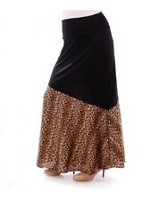 Womens Long Skirt Size 1X Brown Leopard Yummy Plus High Fold Over Waist