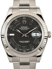 Rolex Datejust II Steel/18k White Gold Black Roman Dial Watch Box/Papers 116334