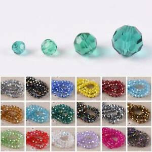3mm 4mm 6mm 8mm Round 32 Facets Cut Crystal Glass Loose Beads Lot AB Colours