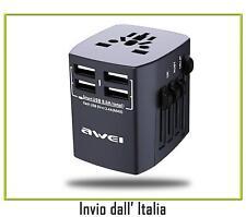 Awei charger Caricabatteria Quattro Porte USB Internazionale, Nero 05072