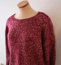 Woman's Long Sleeve Knit Maroon Sweater Winter Berry Tweed XL JCPenny St. John's