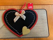 HEART HANGING BLACK CHALKBOARD MESSAGE FUN PLAQUE KITCHEN GIFT HOME NOTE