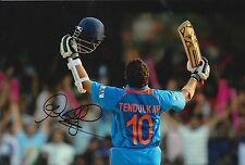SACHIN TENDULKAR HAND SIGNED INDIA 12X8 PHOTO CRICKET LEGEND.