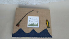 Fishing Cabin Guest Book Set- Guestbook Burlap Fish House Reel Rental Sign Home