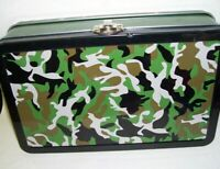 Camouflage Hinged Tin Box  Nice Toy Container