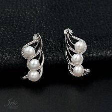 White Pearl Freshwater CZ 925 Sterling Silver Ear Stud Earrings 00338 hook up