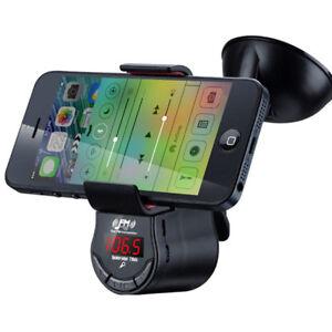 E13D Auto KFZ Halterung mit FM Transmitter 3.5mm Klinke + Lautsprecher Aufladen