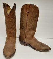 Nocona Boots Leather Buckskin Western Cowboy Mexico Brown Men's Size 10 Vintage