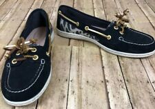EUC Sperry Top Sider Boat Shoes Womens 7 M Black & Leopard Print With Gold Lace