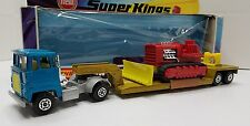 MATCHBOX SUPERKINGS SK-23 LOW LOADER BLUE/GOLD WITH RED CAT BULLDOZER MIB HTF