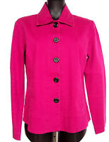CHICOs Additions Button Front Jacket SZ 1 Small Collar & Pockets Fuchsia Purple