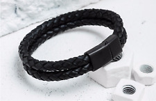 Men Genuine Leather Braided Stainless Steel Leather Braid Magnetic Buckle Clasp
