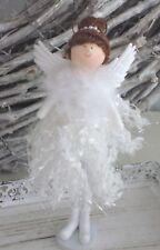 Süßer Engel, Angel,  mit Flitterkleid, Perlen, Federn, Flügel, Weiß , 21 cm