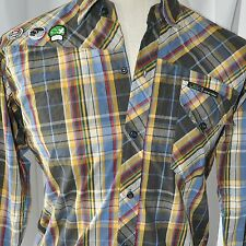 Diery Gamer Patches Plaid Mens M Long Sleeve Shirt Medium Die My Asia Fashion