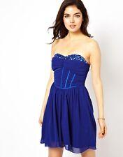 Little Mistress Embellished Jewel Mini Bandeau Occassion Evening Dress 14 Blue