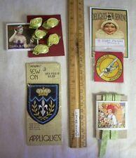 10 VINTAGE sewing Acourtrements ~ Rosettes applique ribbon patches mixed Trims