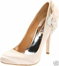 Badgley Mischka Guda Wedding Bridal Satin Pump PUMPS HEELS Shoes Vanilla 10