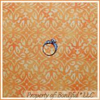 BonEful FABRIC FQ Cotton Quilt Orange Yellow Print Pattern S Flower Damask Toile