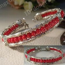 fashion jewelry Tibet Tibetan silver ladies Red lucky beads bracelet bangle A191