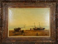 MARINE. FISHERMEN. OIL ON CANVAS. JUAN FRANCISCO VIDALLER. XXTH CENTURY.