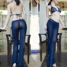 Lady Mesh Sheer Legging Transparent Lace Bell-bottom Flared Pants with Bra Sexy